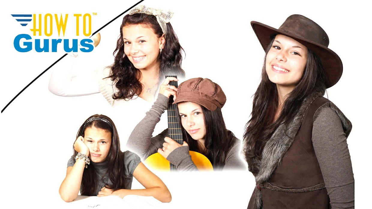 Photoshop Elements Blending Pictures Tutorial: Model Sheet Photo Collage in PSE 15 14 13 12 11