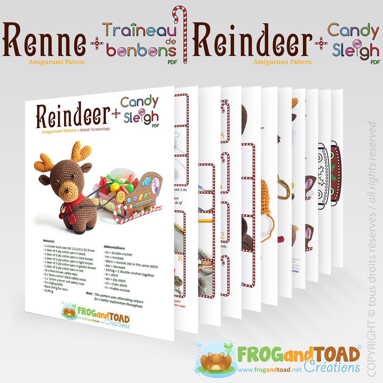 Renne / Reindeer - (Rudolph) Amigurumi Crochet - PDF Patron / Pattern - FROGandTOAD Créations ©
