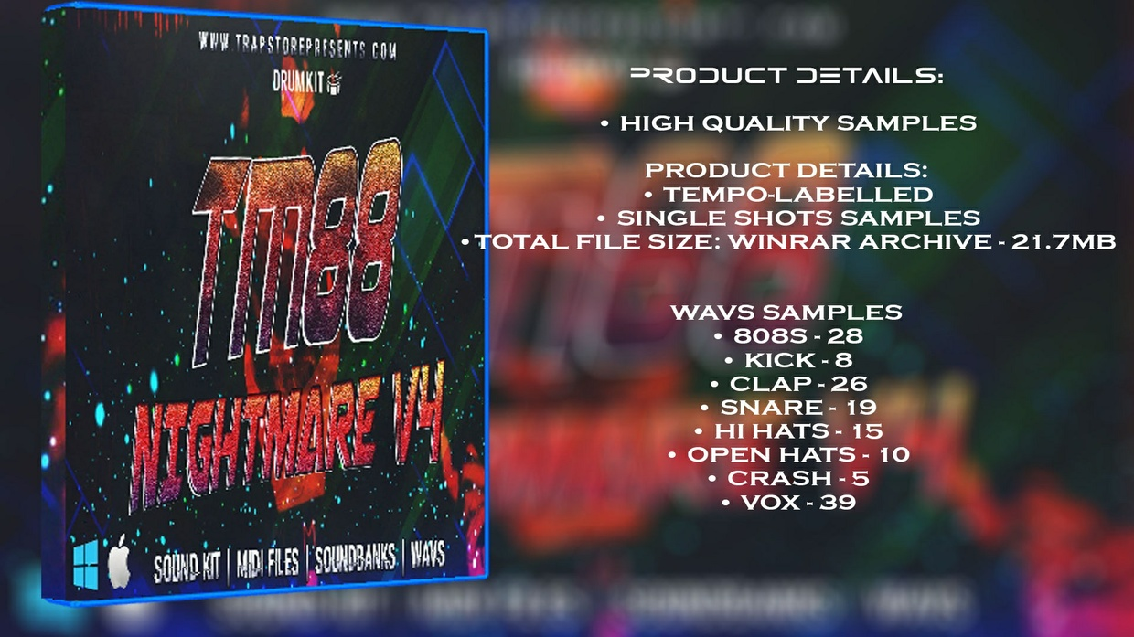 SOUNDKIT - TM88 NIGHTMARE V4 / WAVS / MIDI FILES / MIXING PRESETS / PROJECTS / EXPANSIONS