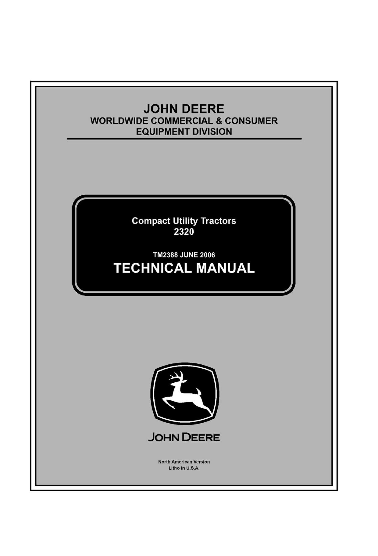 Download John Deere 2320 Compact Utility Tractor Service  Manual TM2388