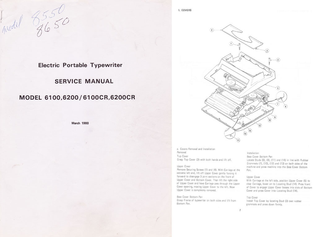 Silver-Reed 6100, 6200, 8500, 8600 Series Electric Typewriter Repair Adjustment Service Manual