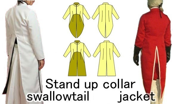 Stand up collor  swallowtail jacket Paper pattern.