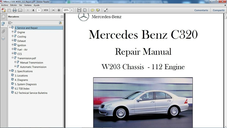 Mercedes benz c320 w203 manual de taller workshop re for Mercedes benz workshop manuals