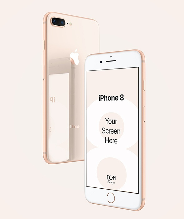 iPhone 8 Plus Mock-up with Reflection