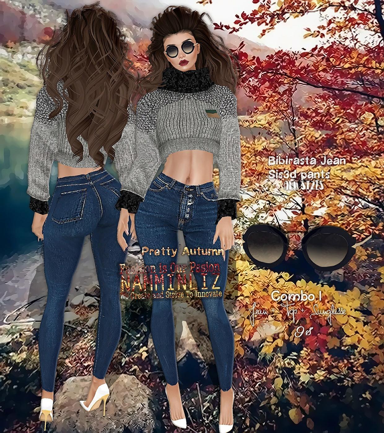 Pretty Autumn combo1 Jean Bibirasta/Sis3d + Tops +  Sunglasse