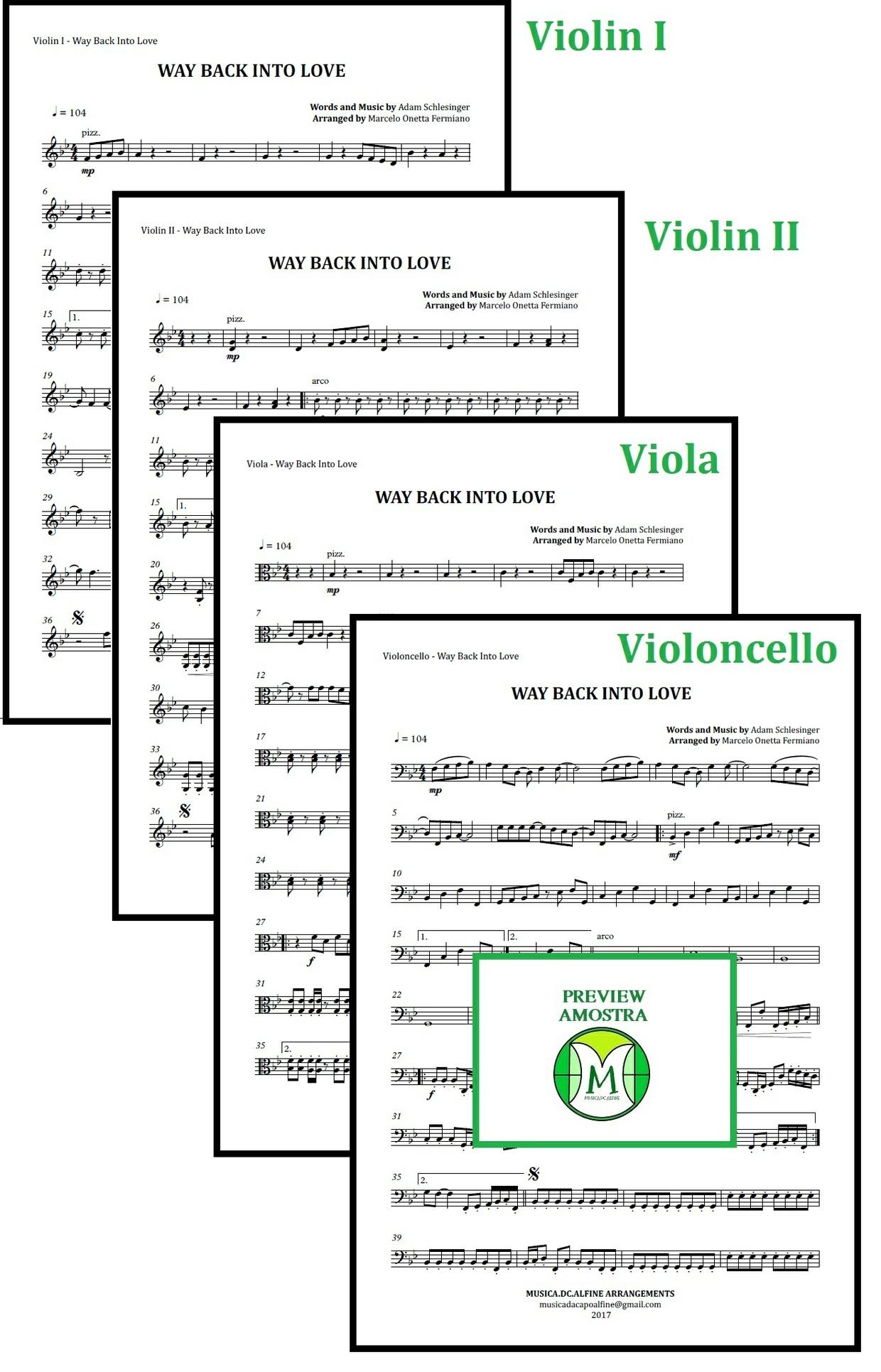 Way Back Into Love | Janice Vidal | Quarteto de Cordas | Partitura Completa Download