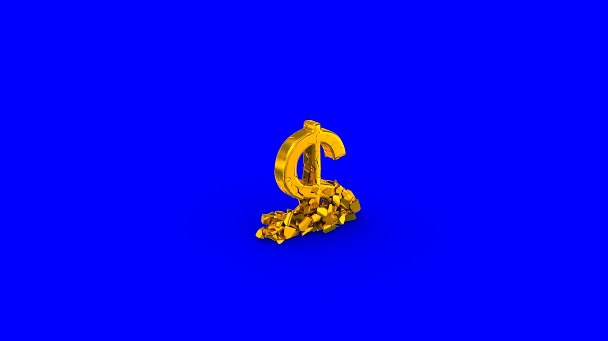 HD video backgrounds – gold USA dollar sign falling & breaking – 3D animation