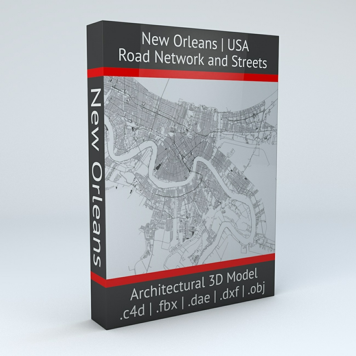 New Orleans Road Network Architectural 3D Model