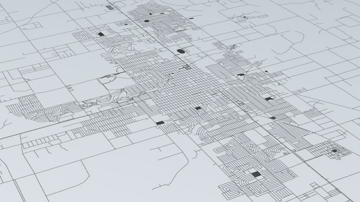 Roswell Road Network Architectural 3D Model