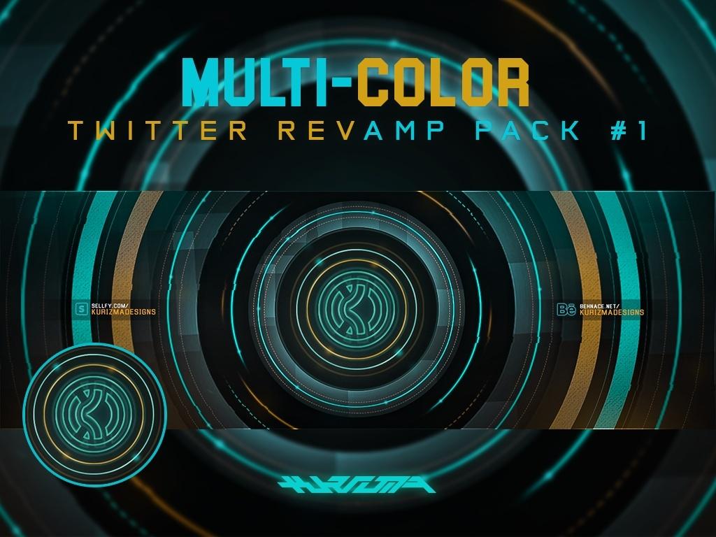 Multi-Color Twitter Revamp PSD Pack #1