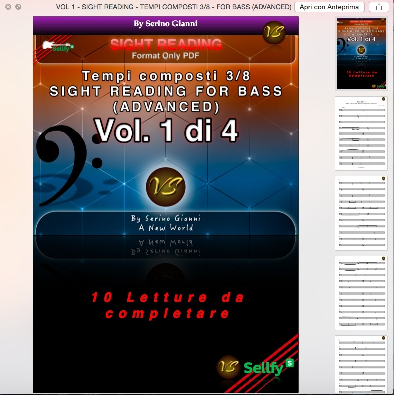 VOL 1 - SIGHT READING - TEMPI COMPOSTI 3/8 - FOR BASS (ADVANCED) ONLY PDF FORMAT