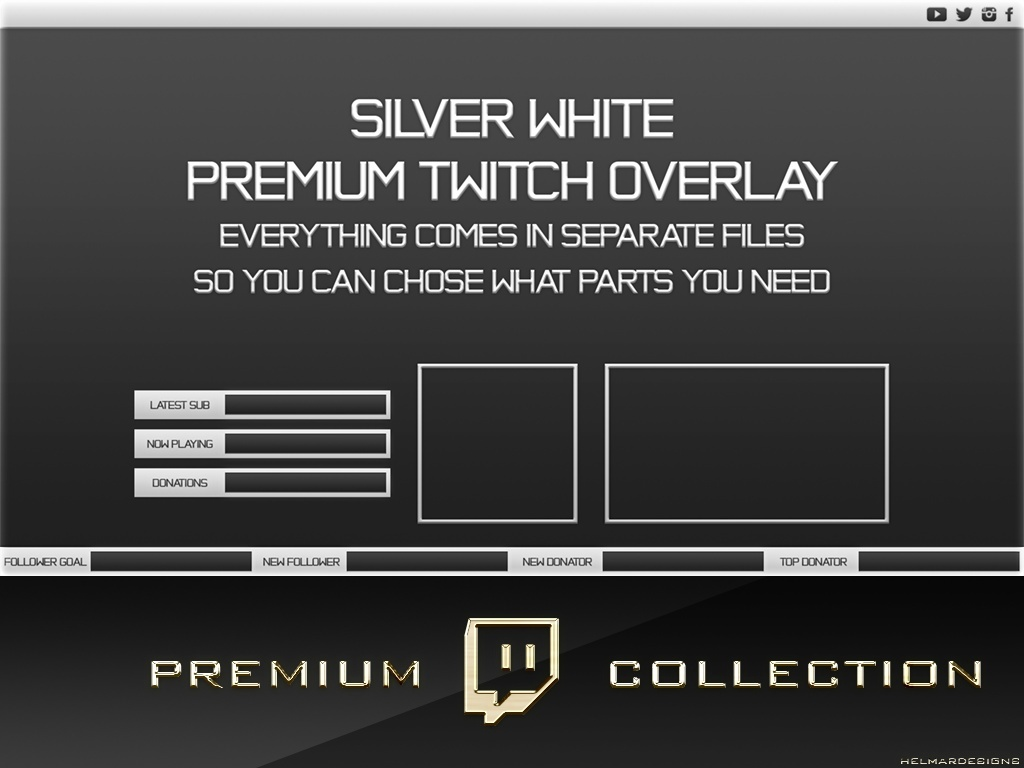 Premium Twitch Overlay Pack - Silver White