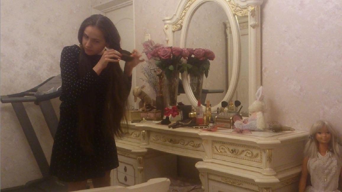 Anastasia Nesterova - Tailbone Length Hair Play in The Room