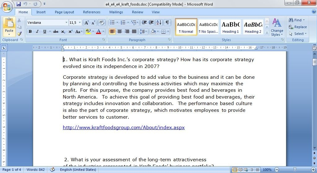 long term attractiveness of kraft foods business portfolio Long term attractiveness of kraft foods business portfolio amanda kluszczynski strategic business 59-620b eveanne lovero kraft questions march 12, 2015 1.