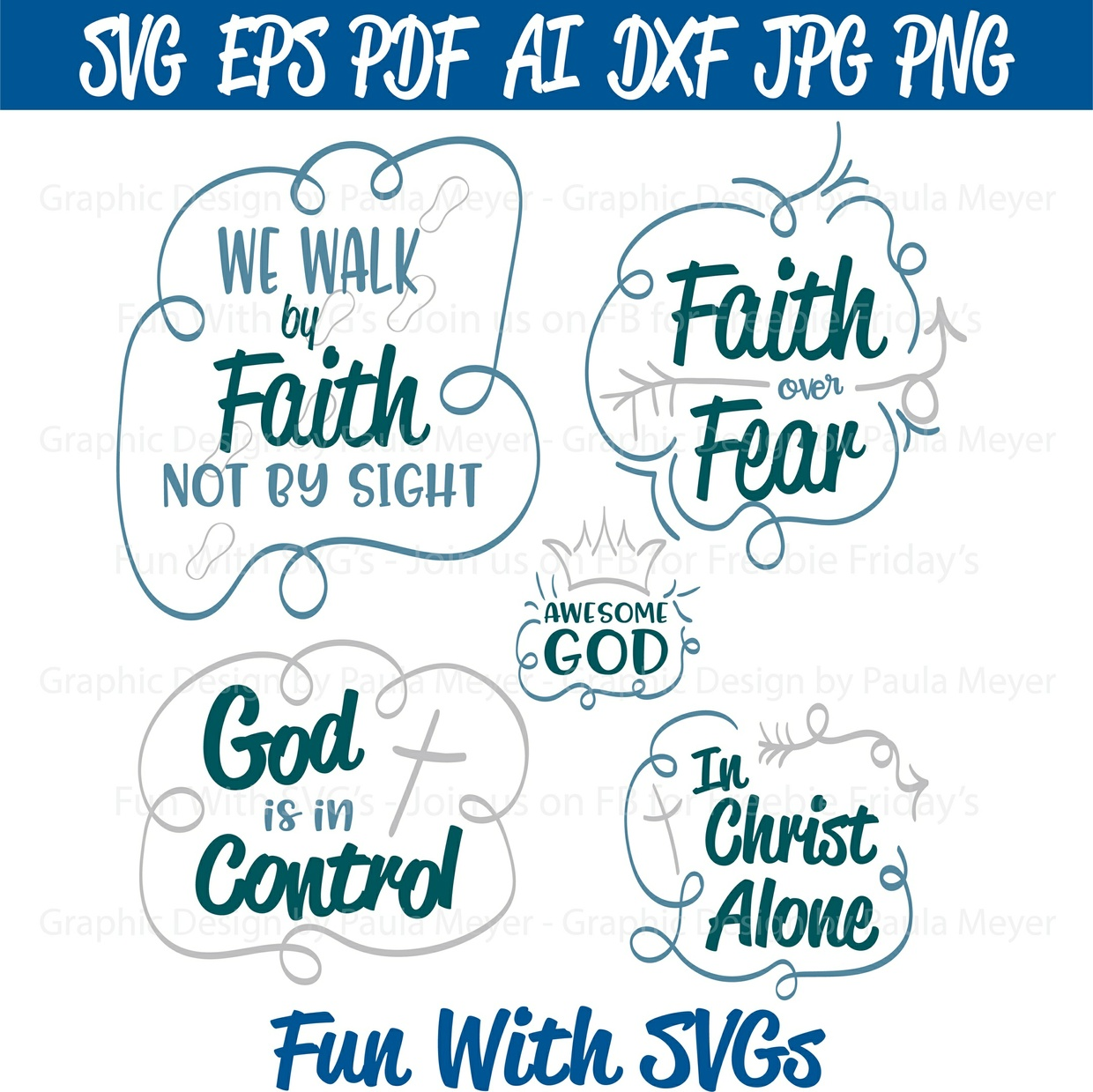 Walk by Faith - SVG Cut File, High Resolution Printable Graphics and Editable Vector Art