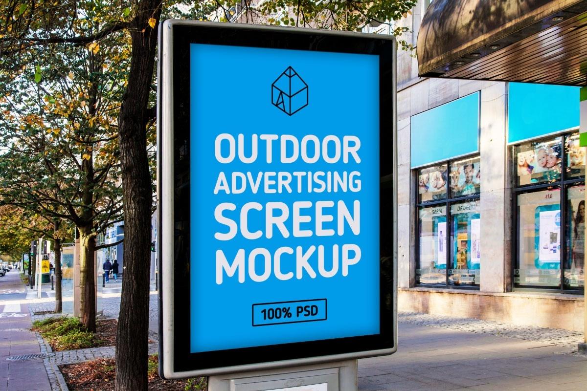 Free Outdoor Advertising Screen Mock-Up