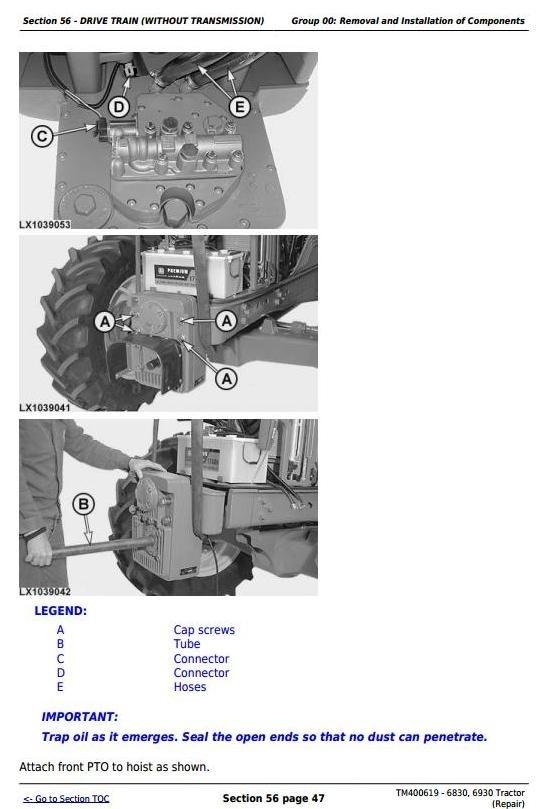 John Deere 6830, 6930 European Tractors Service Repair Manual (TM400619)