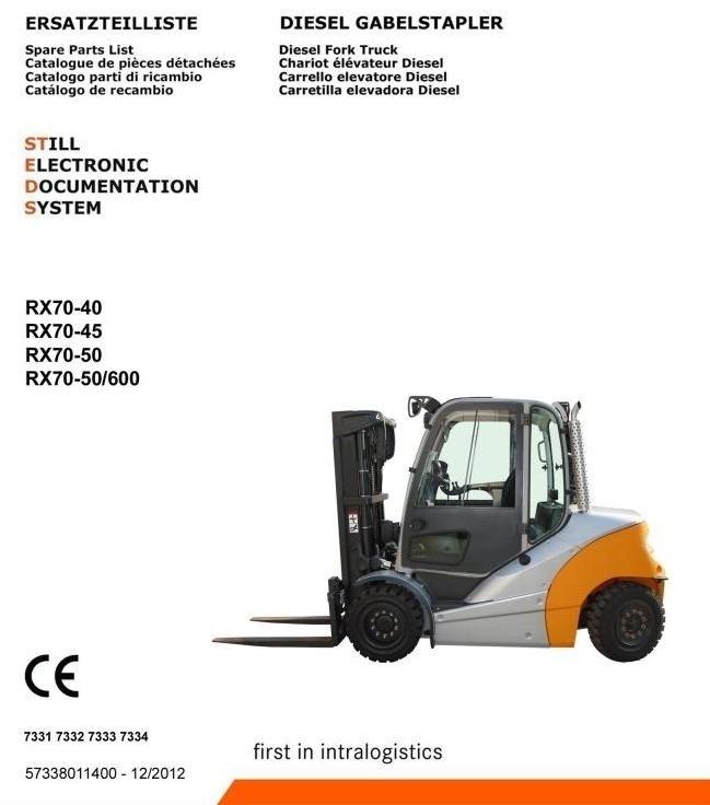Still Diesel Forklift Truck Type RX70-40D, RX70-45D, RX70-50D: 7331, 7332, 7333, 7334 Parts Manual