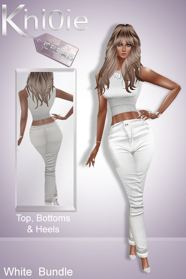 White bundle ( top pants heels)