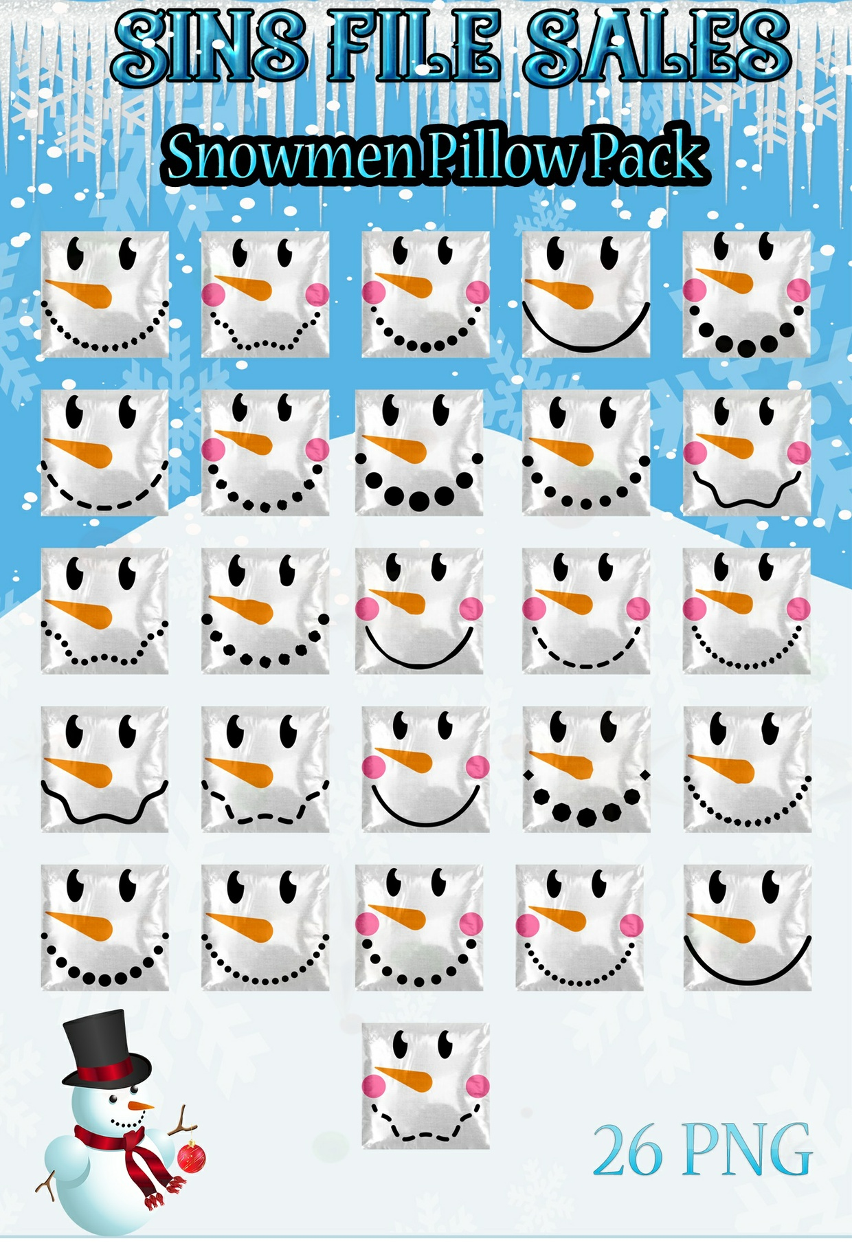 Snowmen Pillow Pack *2017