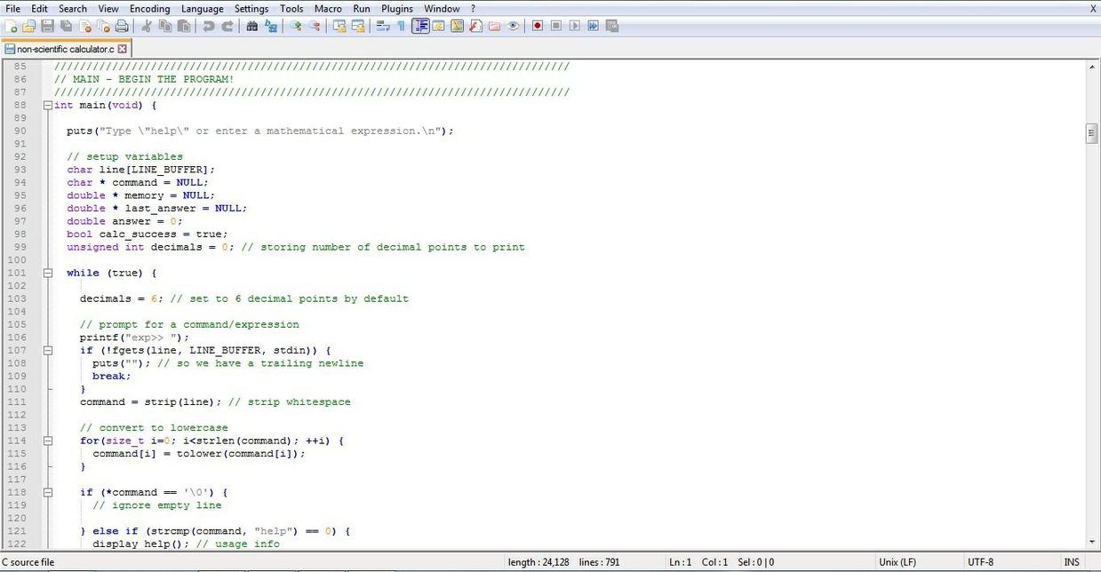 You are required to develop a non-scientific calculator using C