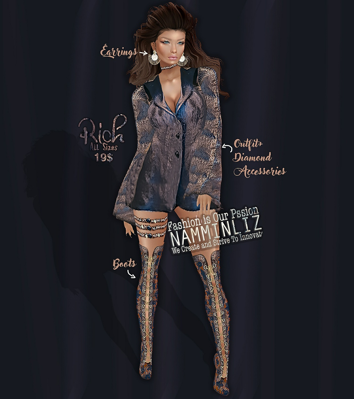 Rich Bibirasta Outfit All sizes w/Accessories + Earrings + Shoes + IMVU Icon GIF & PSD and  Ads PNG