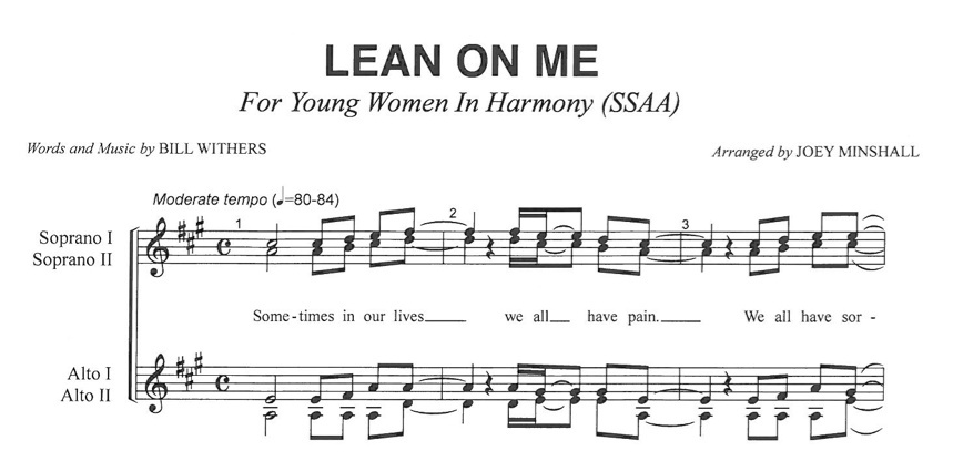 Lean On Me MP3 Audio Learning Tracks SSAA arr. Joey Minshall