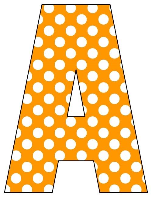 8X10.5  Inch Orange Polka Dot Printable Letters A-Z, 0-9