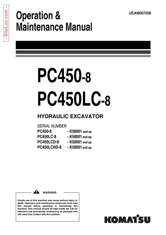 Komatsu PC450-8, PC450LC-8 Hydraulic Excavator (K50001 and up) OM Manual - UEAM007200