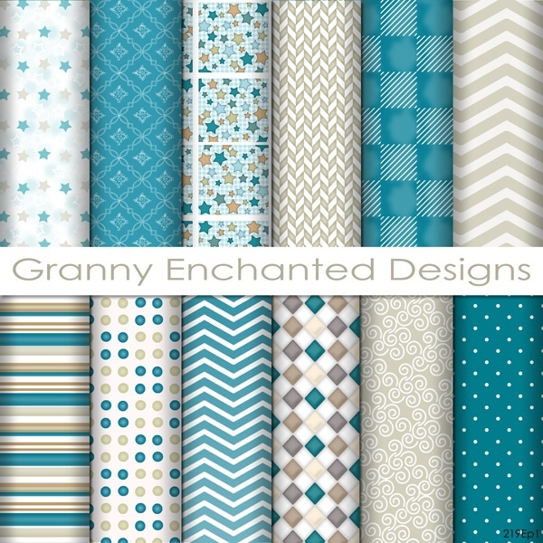 12 Digital Papers – in White, Gray, Teal, and Taupe Digital Backgrounds  (219p1)