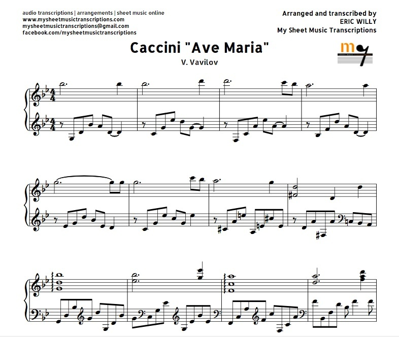 Piano ave maria sheet music piano : Maria Caccini (Vavilov) Sheet music (.pdf)