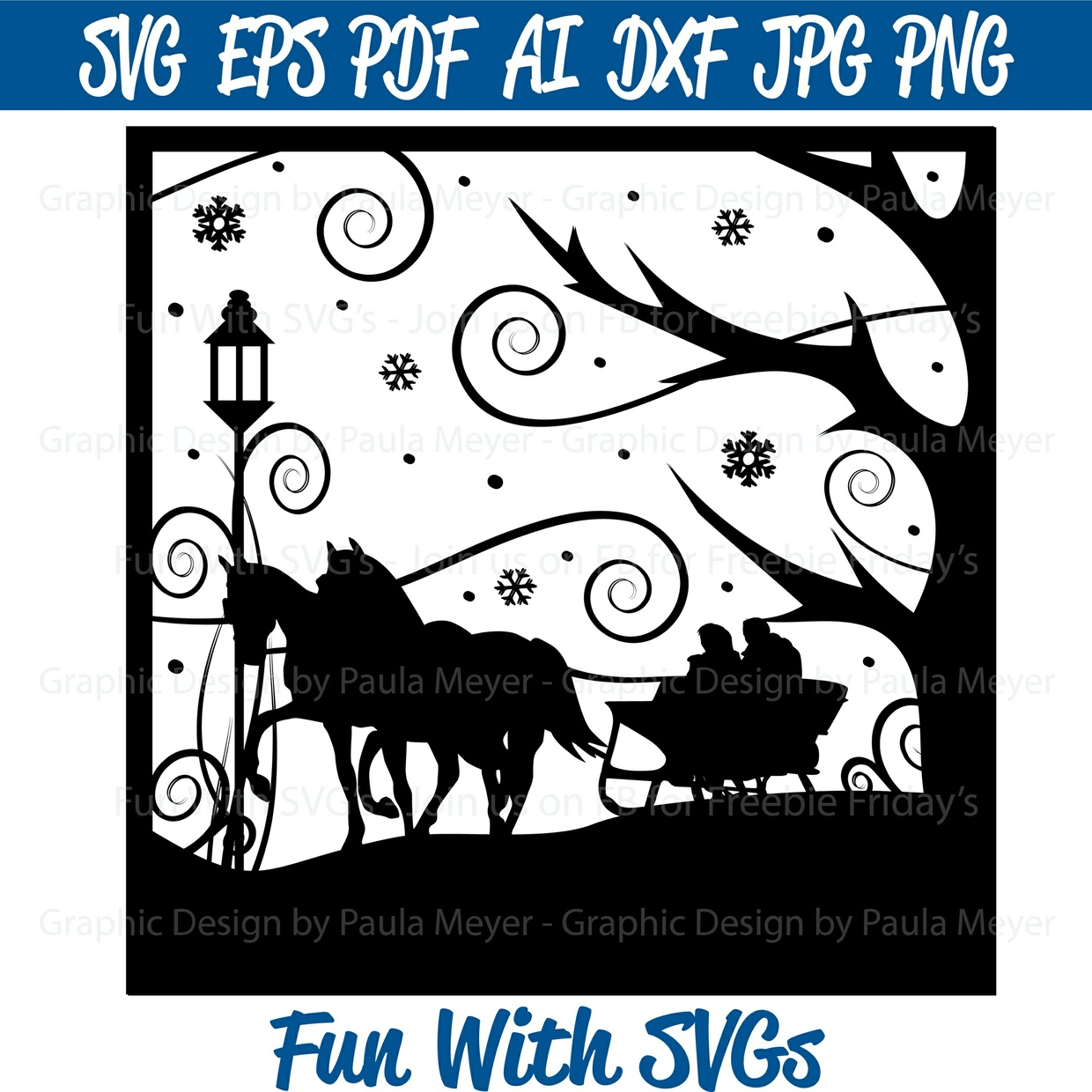 Two Horse Open Sleigh - SVG Cut File, High Resolution Printable Graphics and Editable Vector Art