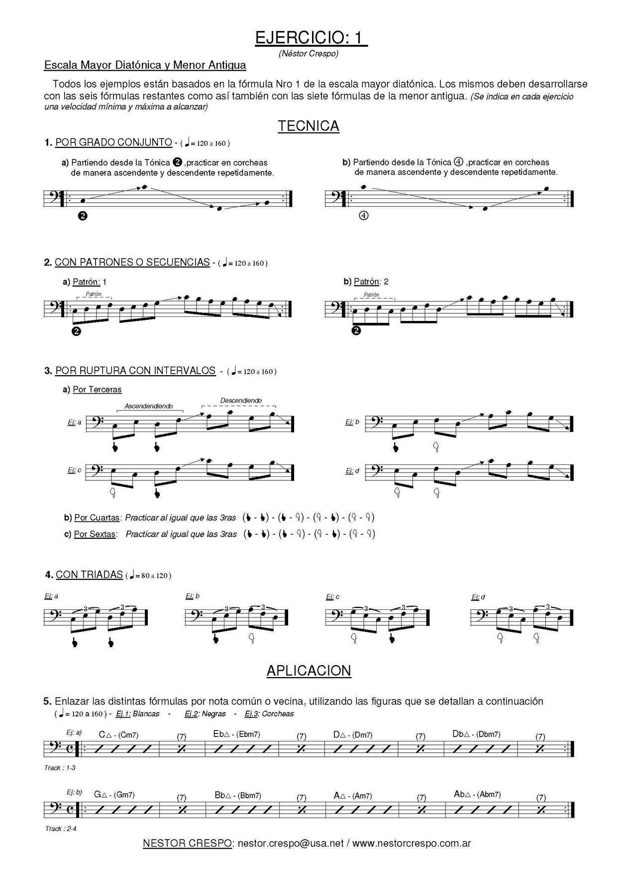 BAJO / GRATIS - Libro  de Escalas y Arpegios