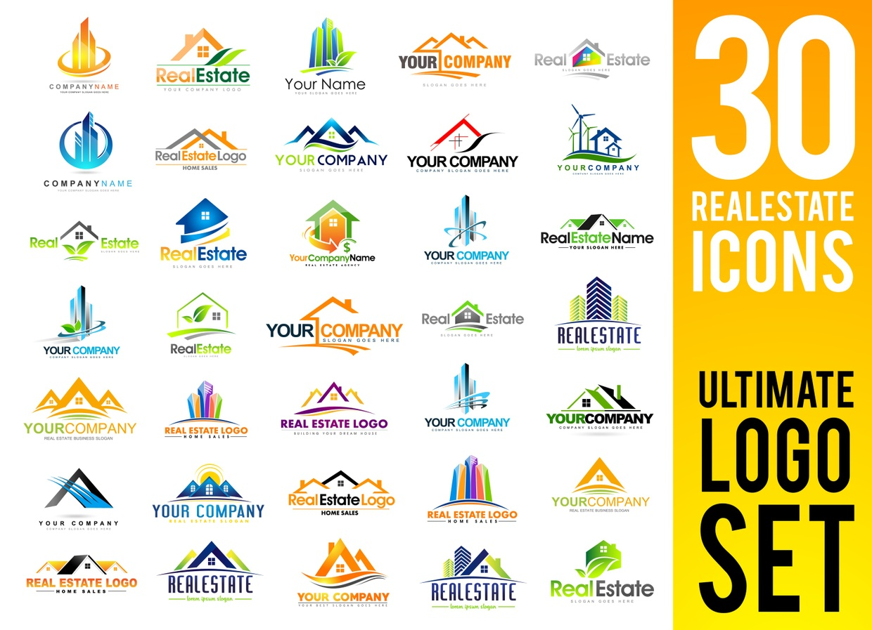 Real Estate Logo Design Set  | 30 Professional Quality Vector Illustrations