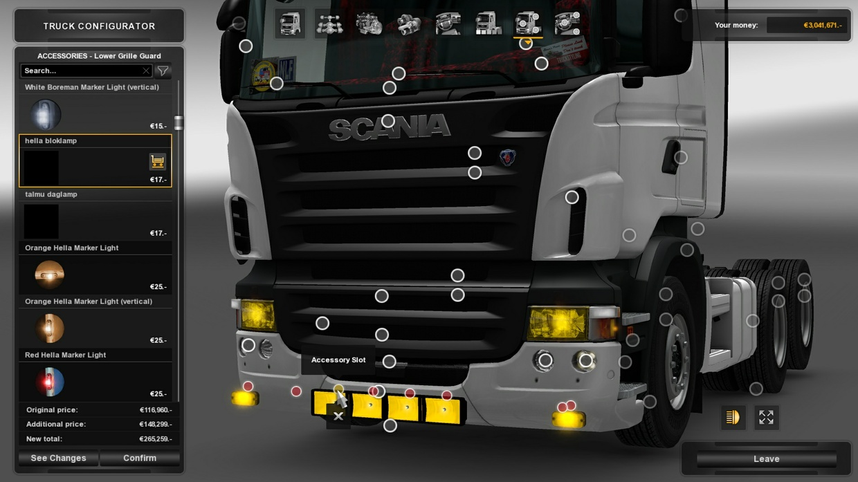 Yellow Bumper Lights For Scania RJL R&S