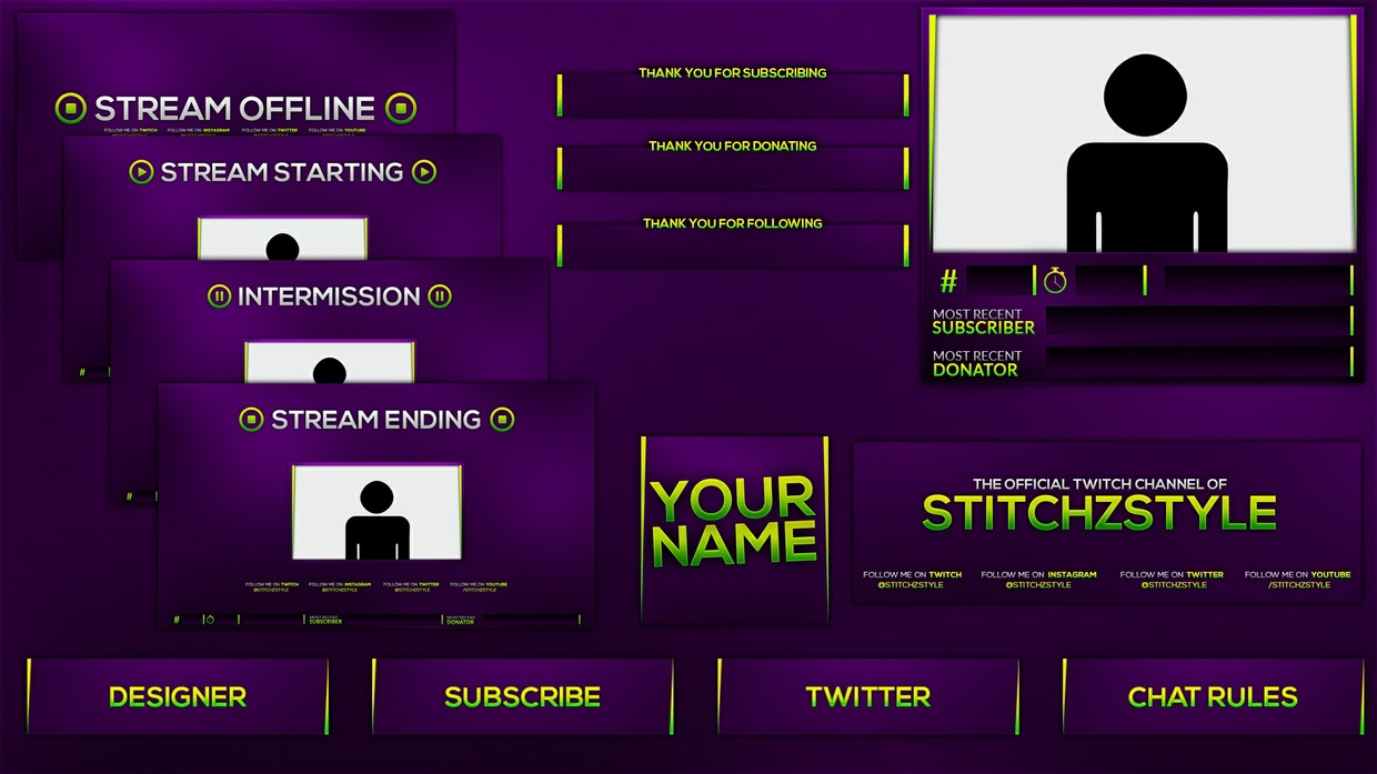 Purple and Green Twitch Stream Rebrand and Overlay Photoshop Template Pack