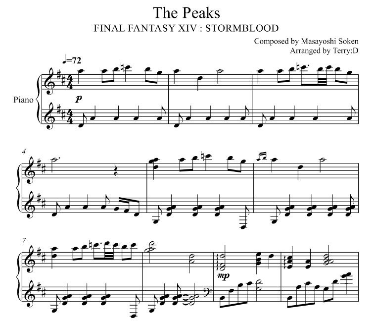 Final Fantasy XIV : Stormblood - The Peaks for piano solo (Arr.by Terry:D)