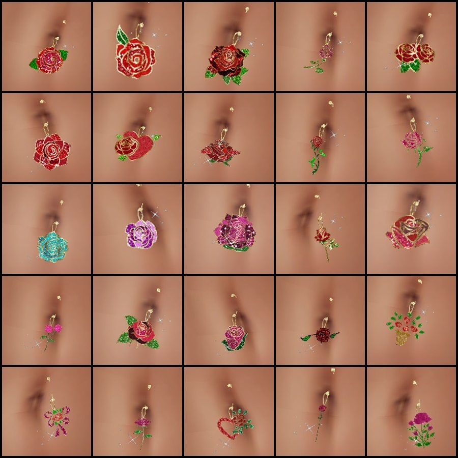 100 Rose Belly Ring By CaryR