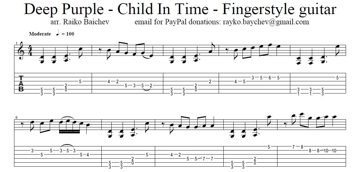 Deep Purple - Child in Time - Fingerstyle - Tab