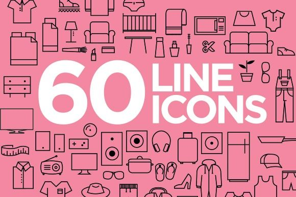 60 LINE ICONS IN VECTOR