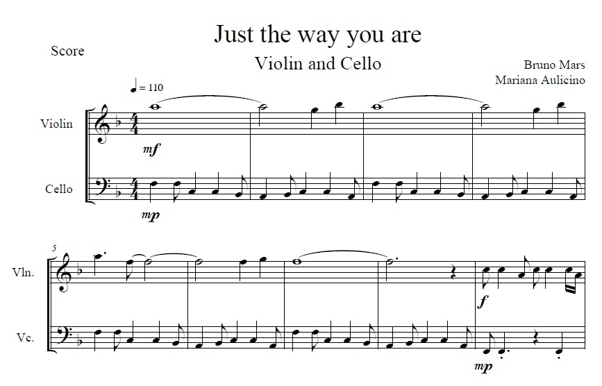 Just The Way You Are - Bruno Marz - String duet