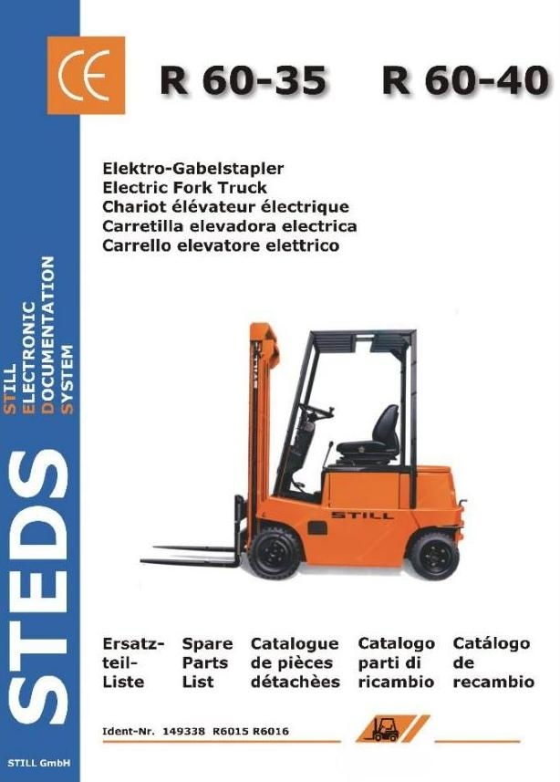 Still Electric Forklift Truck R60-35, R60-40: 6015, 6016 Spare Parts List