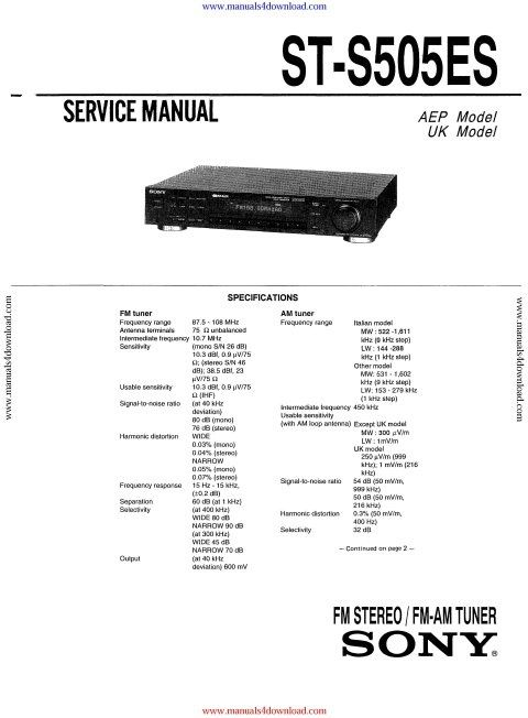 Sony STS505ES Service Manual
