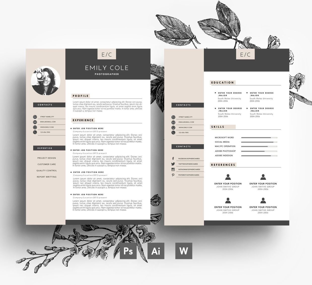 custom resume template 3 page pack easy editable psd