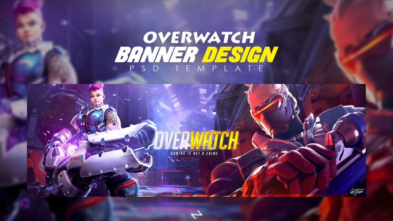 "Overwatch Banner Design ""Twitter Header""  free PSD Template"