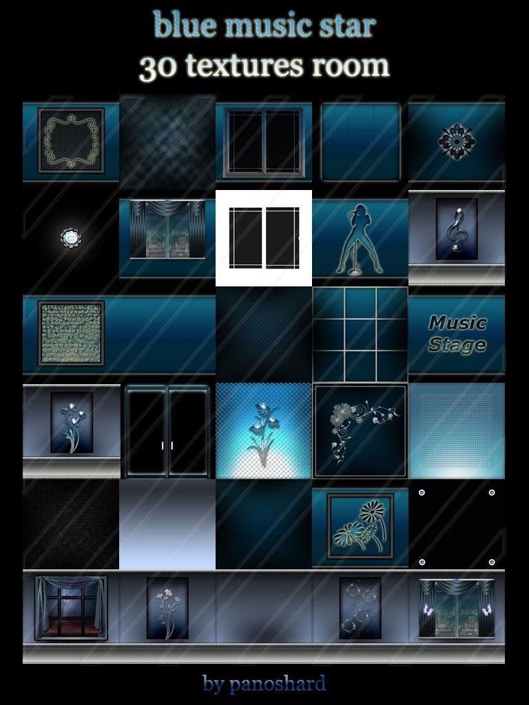Blue music star 30 textures room