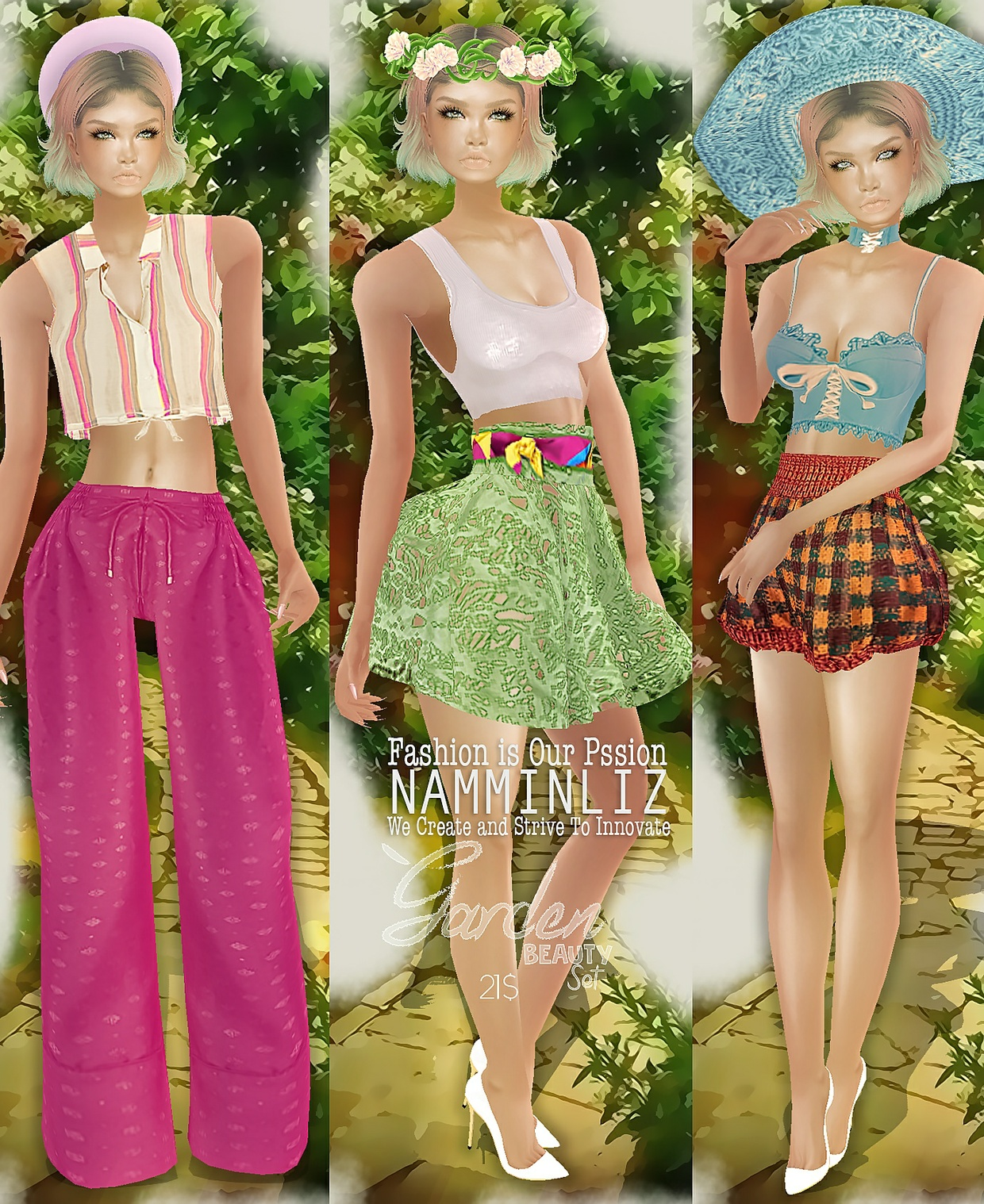 Garden Beauty Set 2 imvu PNG textures Top + Short + Hat