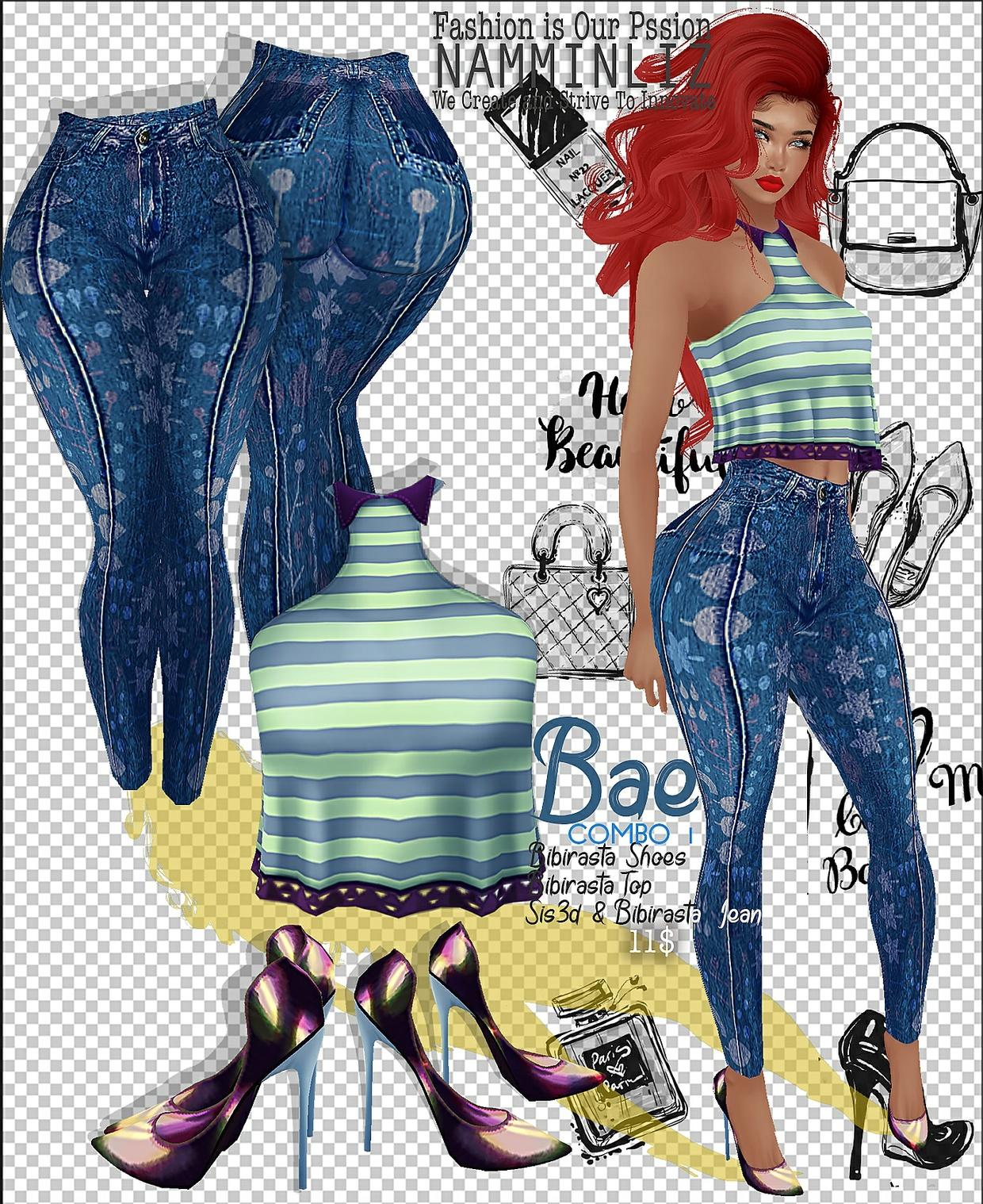 COMBO Bae1 Jeans sis3d & bibirasta +  Tops Bibirasta +  Shoes Bibirasta All Sizes