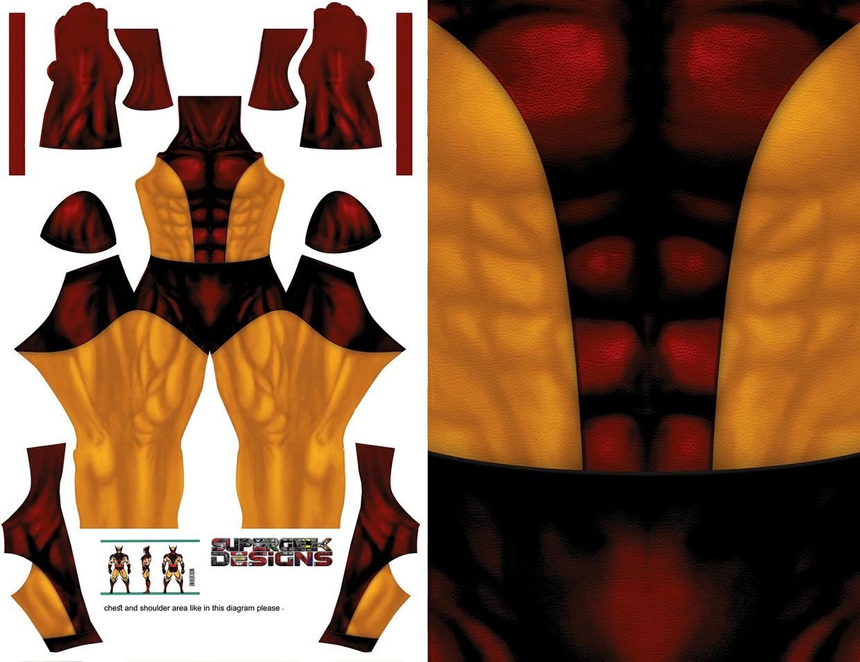 WOLVERINE tanned suit (textured with leather pattern) pattern file