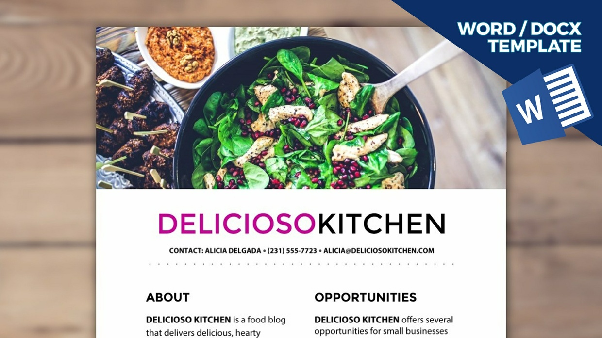 DELICIOSO Blogger Media Kit Template [1-page, .docx file, instant download]